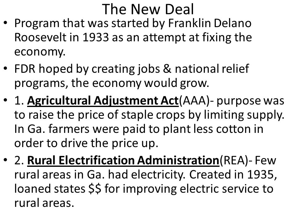the new deal initiative By the time he died,  alternatives to the new deal  scheme called ham and eggs, which made its way onto the state ballot as a popular initiative.
