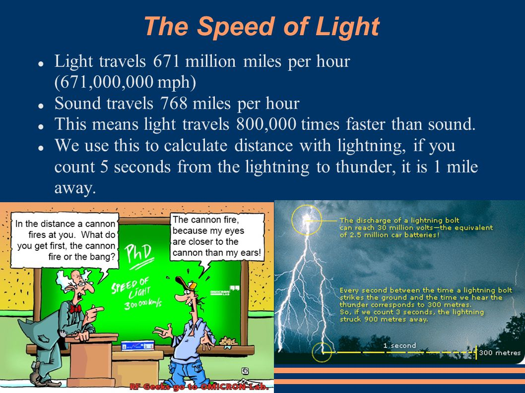 The Speed of Light Light travels 671 million miles per hour (671,000,000 mph)