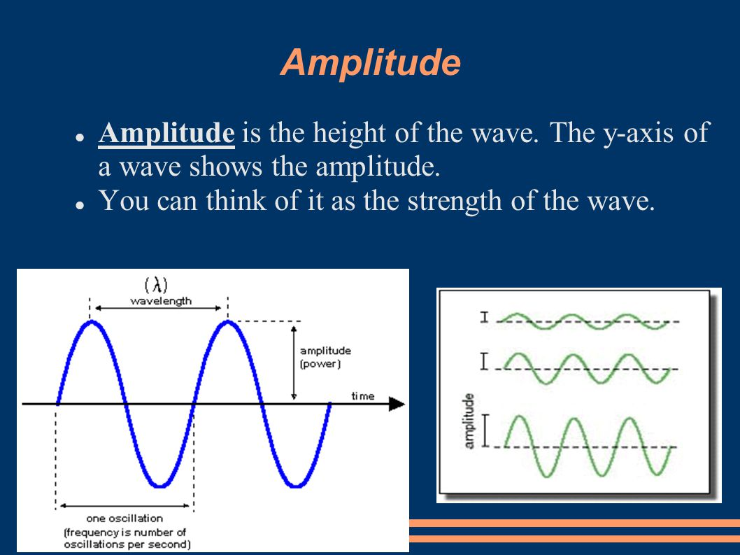 Amplitude Amplitude is the height of the wave. The y-axis of a wave shows the amplitude.