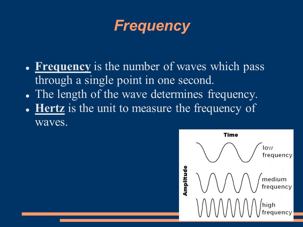 Frequency Frequency is the number of waves which pass through a single point in one second. The length of the wave determines frequency.