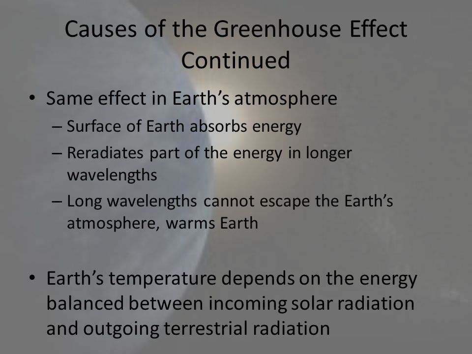 Causes of the Greenhouse Effect Continued