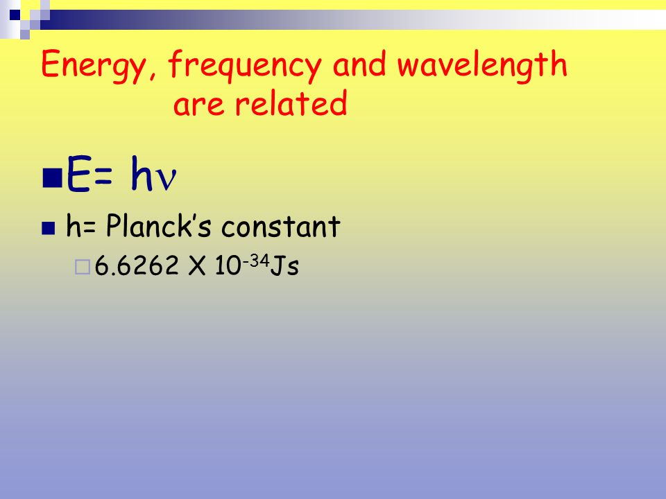 Energy, frequency and wavelength are related