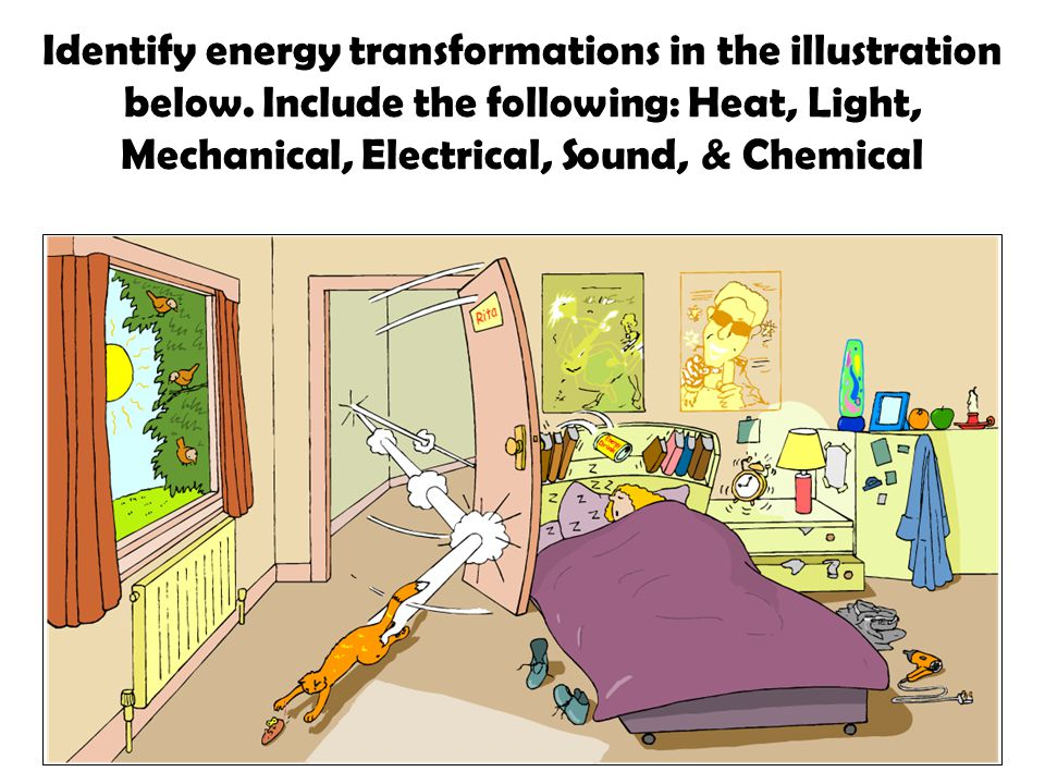 Identify all the forms of energy you see in the picture below ...