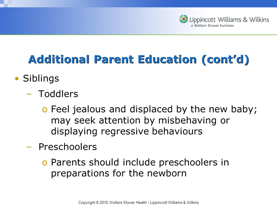 Additional Parent Education (cont'd)