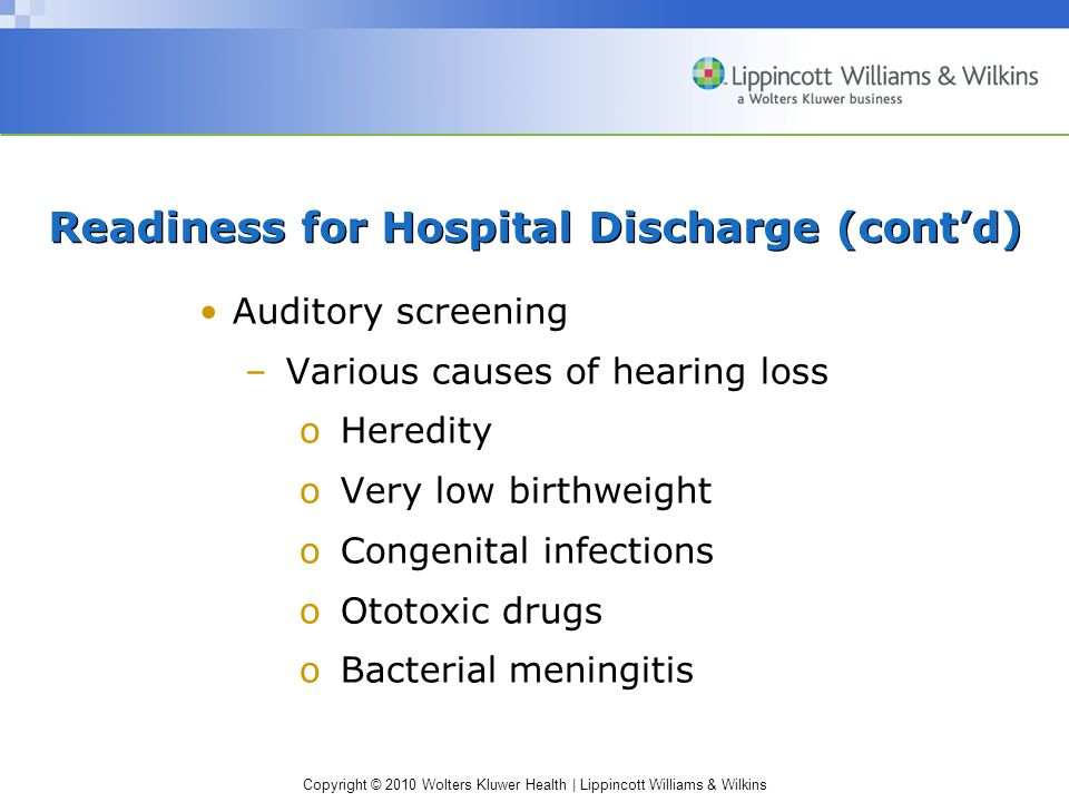 Readiness for Hospital Discharge (cont'd)