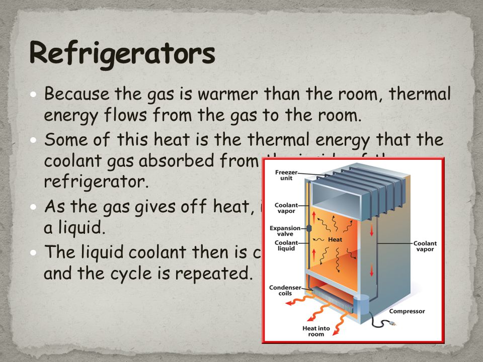 Refrigerators Because the gas is warmer than the room, thermal energy flows from the gas to the room.