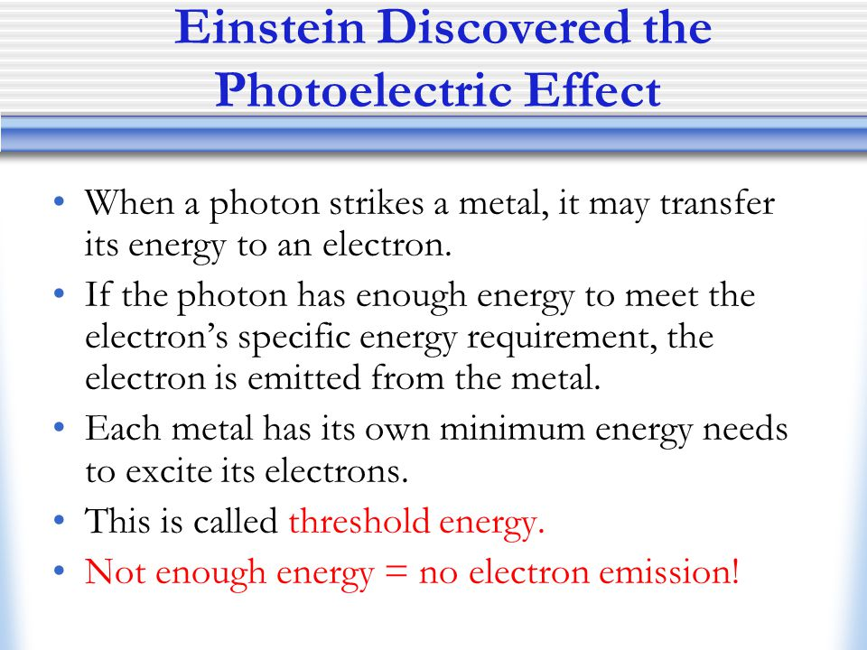 Einstein Discovered the Photoelectric Effect