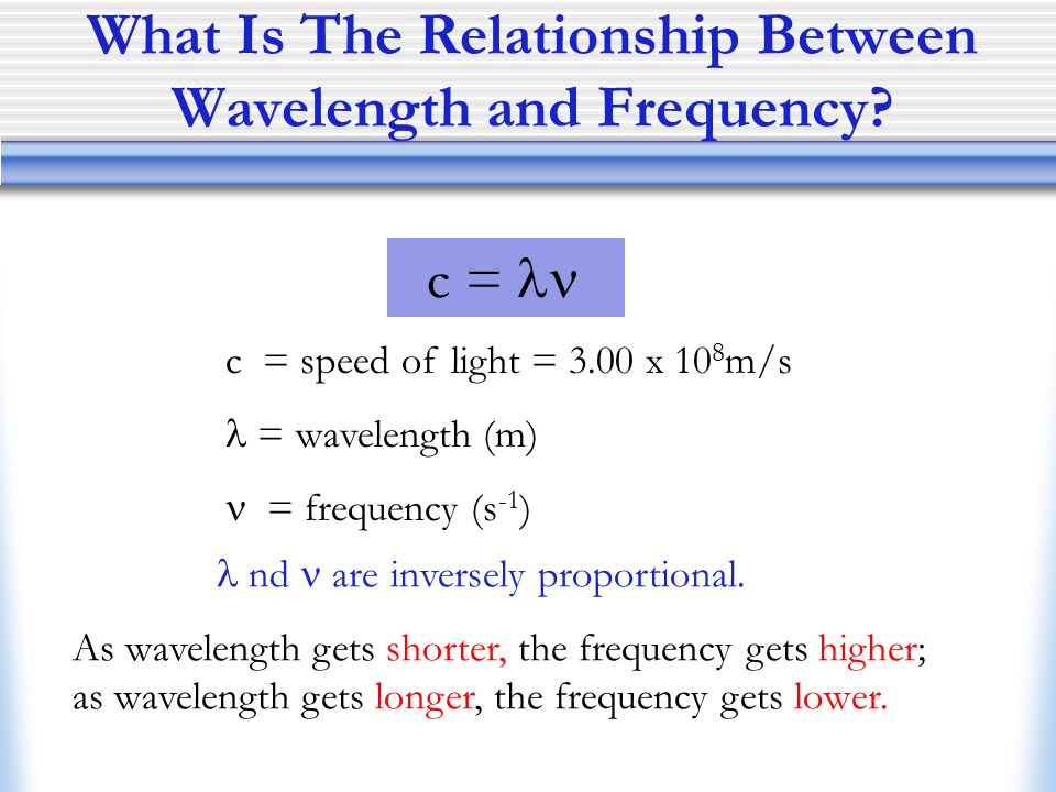 step 1 what is the equation for relationship between frequency and wavelength
