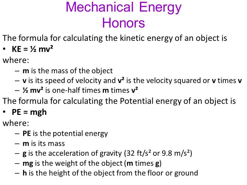 Types of Energy Foldab... Formula Of Mechanical Energy