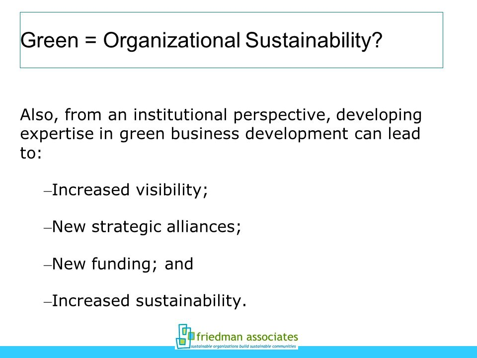 Green = Organizational Sustainability