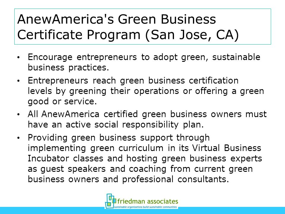 AnewAmerica s Green Business Certificate Program (San Jose, CA)