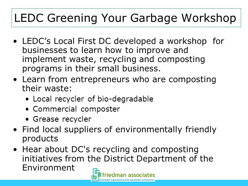 LEDC Greening Your Garbage Workshop