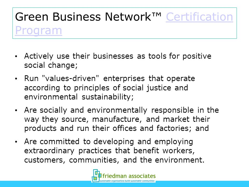 Green Business Network™ Certification Program
