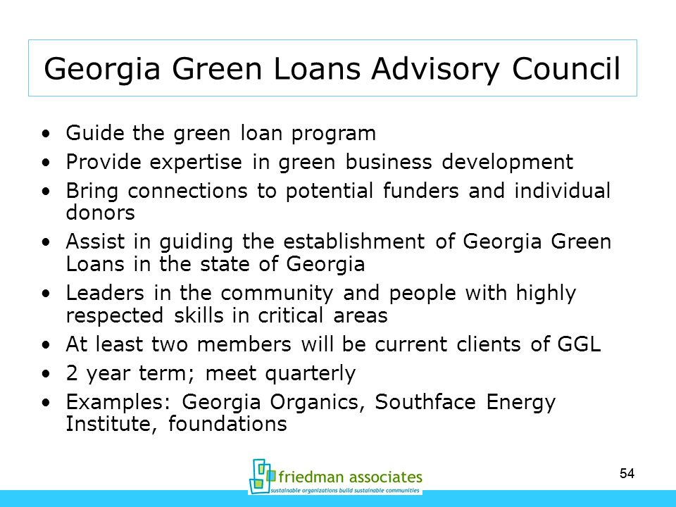 Georgia Green Loans Advisory Council