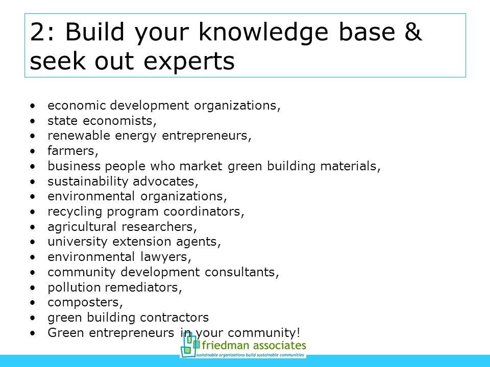 2: Build your knowledge base & seek out experts