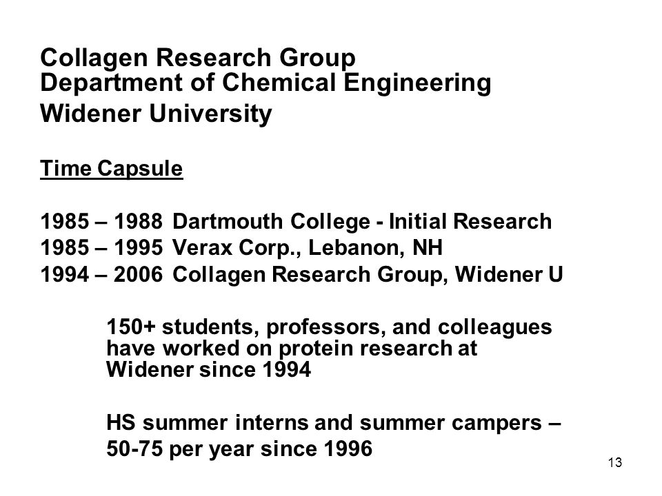Collagen Research Group Department of Chemical Engineering