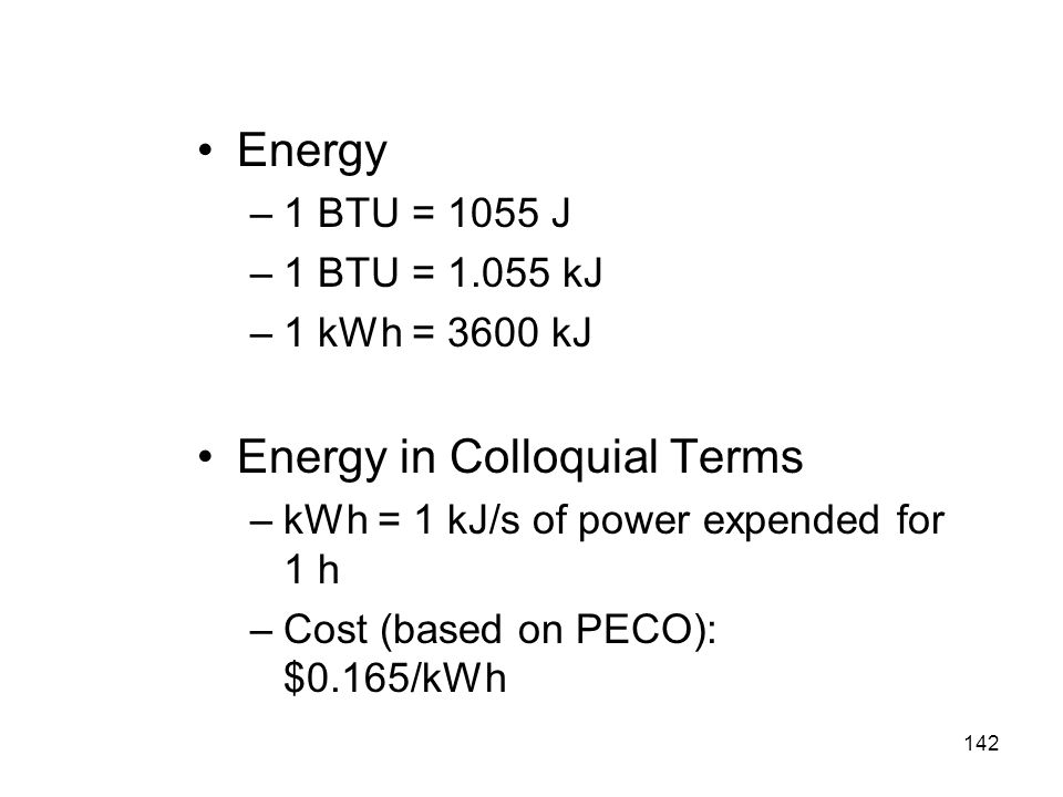 Energy in Colloquial Terms
