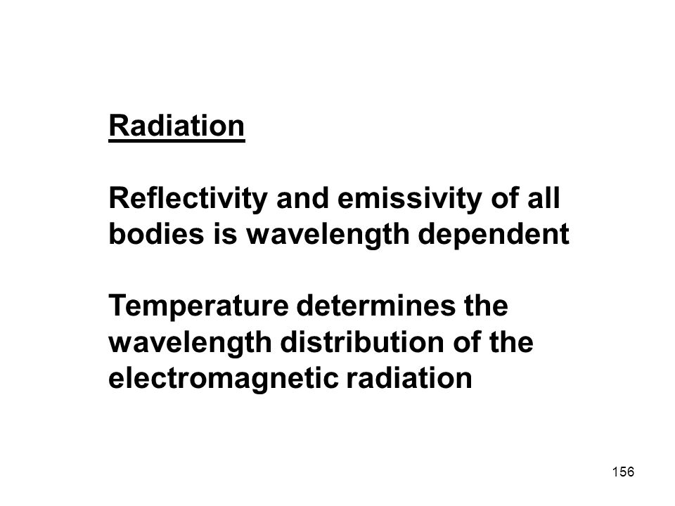 Radiation Reflectivity and emissivity of all bodies is wavelength dependent.