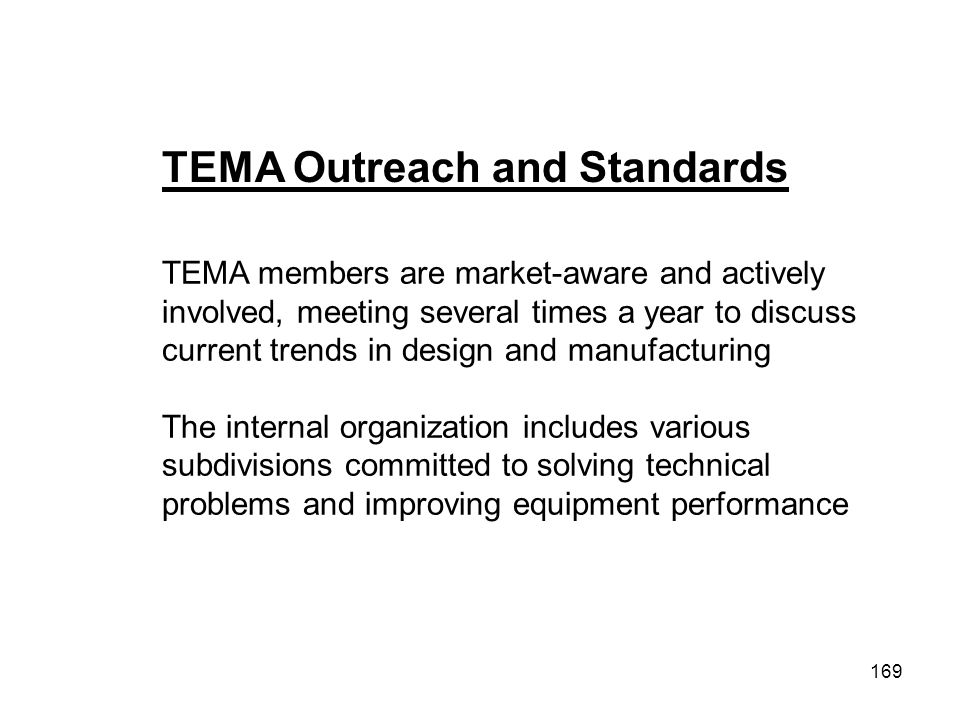 TEMA Outreach and Standards