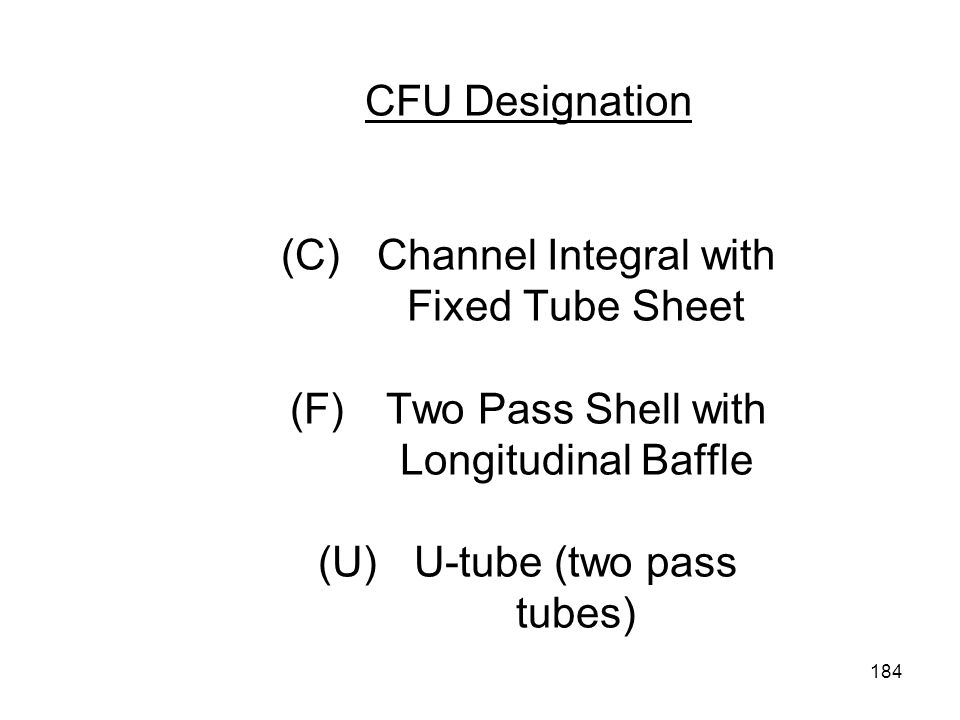 CFU Designation (C). Channel Integral with. Fixed Tube Sheet (F)