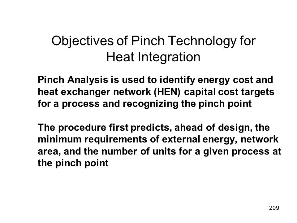 Objectives of Pinch Technology for Heat Integration