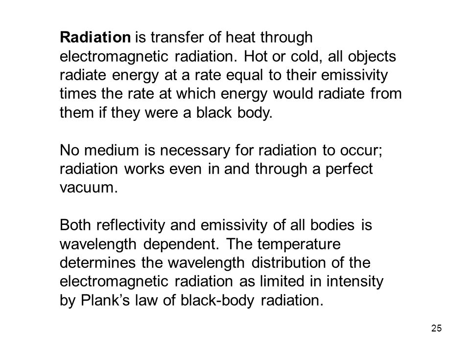 Radiation is transfer of heat through electromagnetic radiation