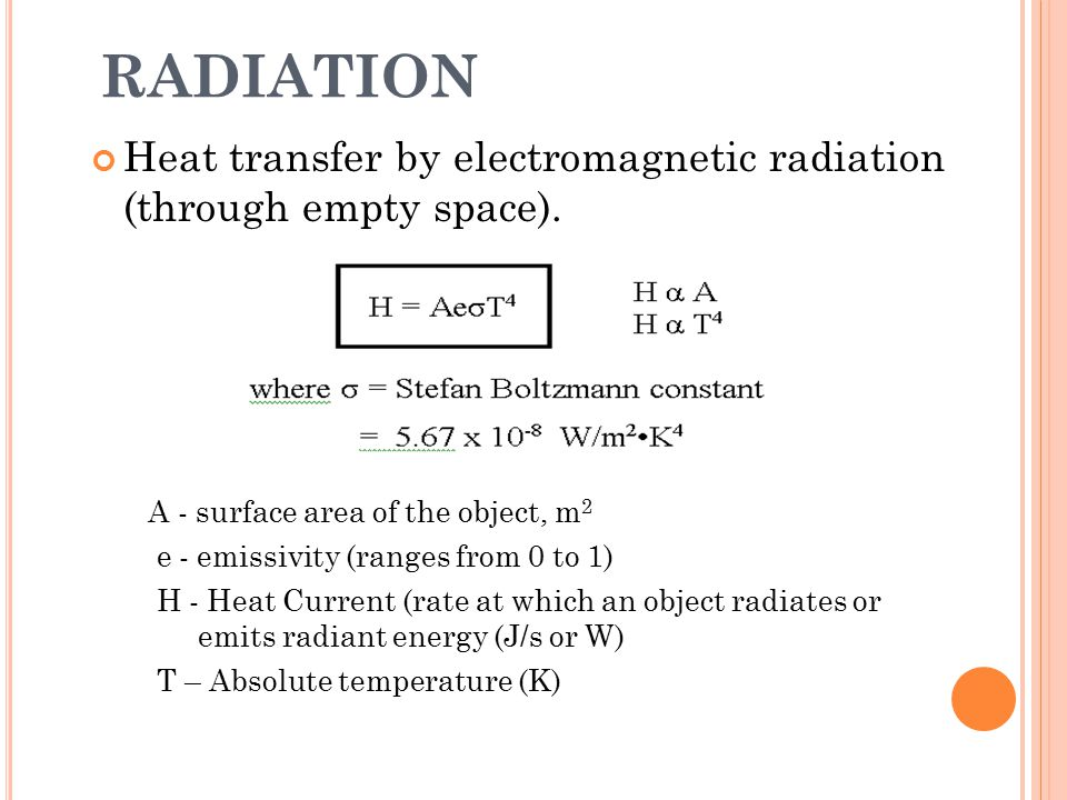 RADIATION Heat transfer by electromagnetic radiation (through empty space). A - surface area of the object, m2.