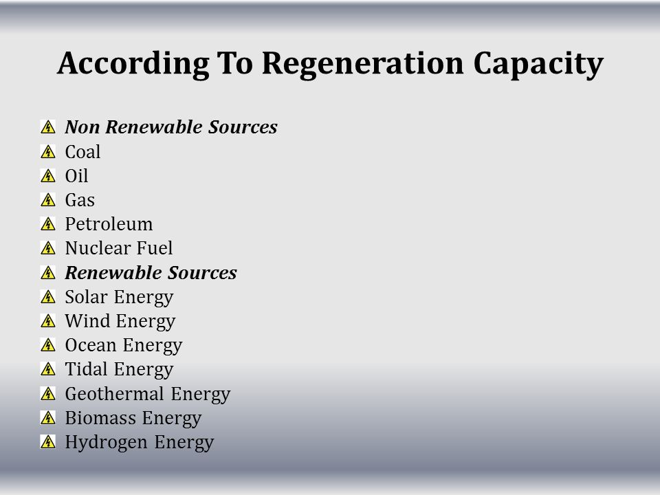 According To Regeneration Capacity