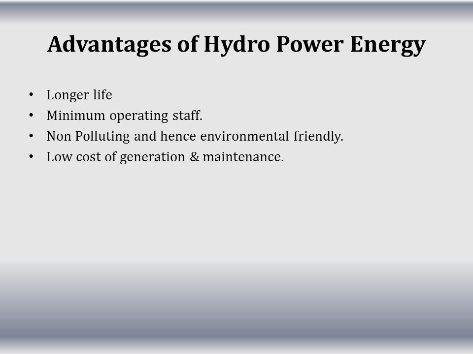 Advantages of Hydro Power Energy
