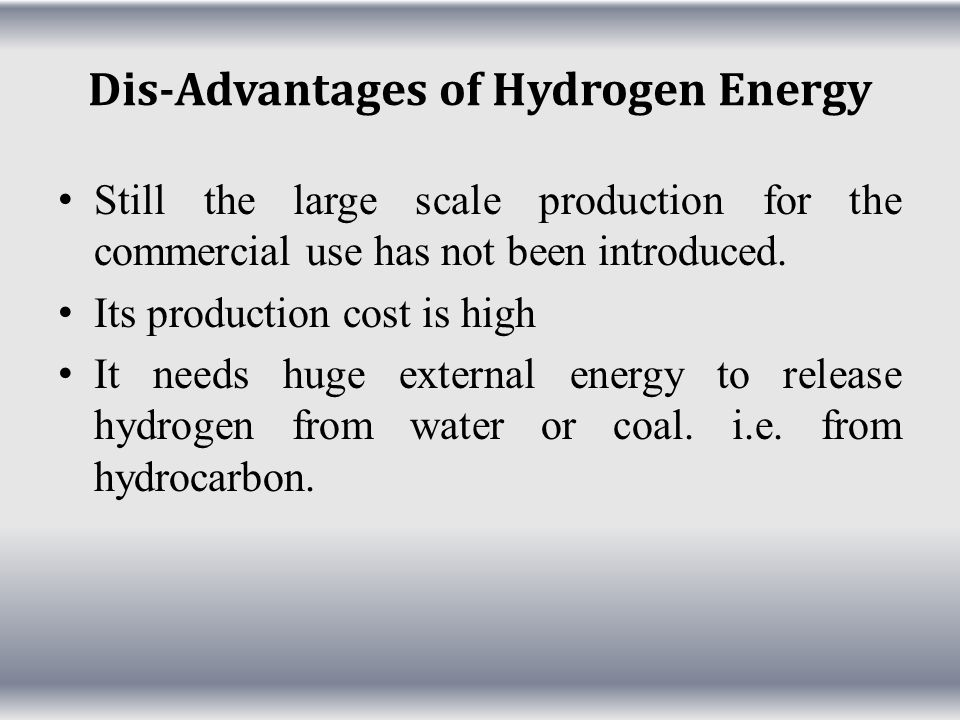 Dis-Advantages of Hydrogen Energy
