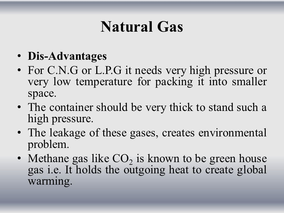 Natural Gas Dis-Advantages