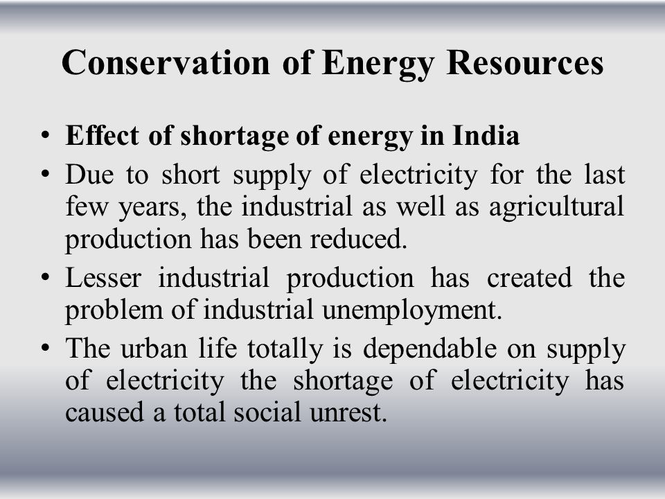Conservation of Energy Resources