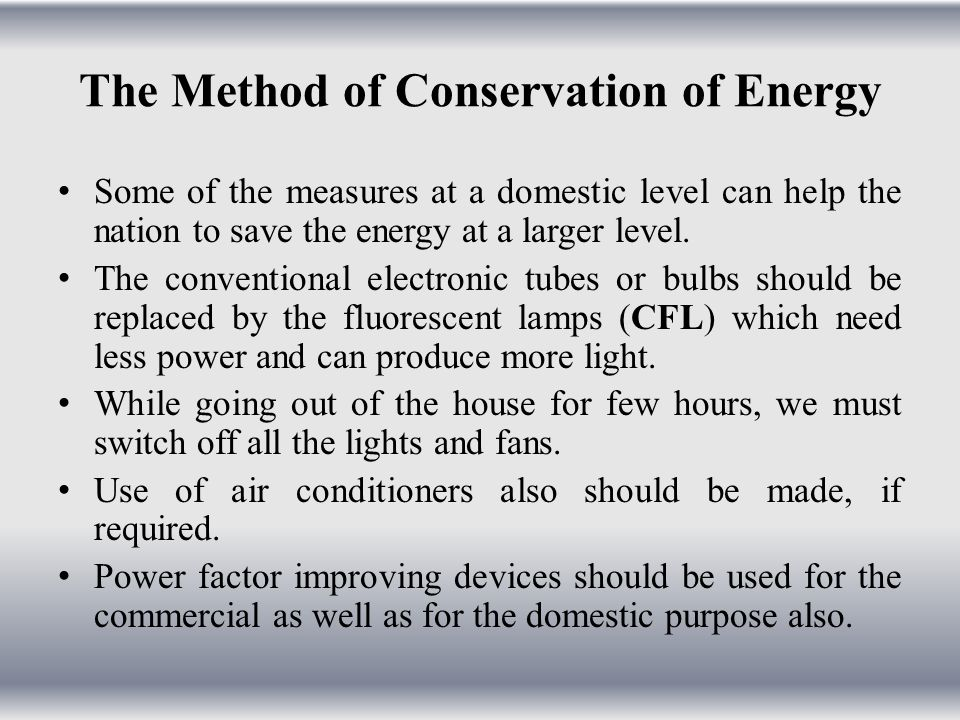 The Method of Conservation of Energy