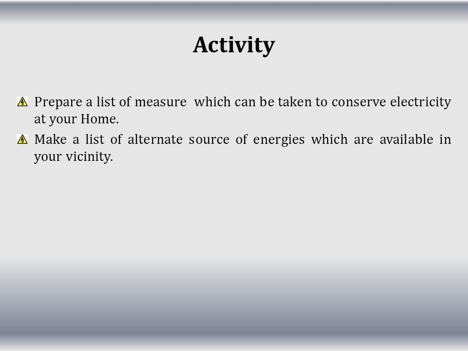 Activity Prepare a list of measure which can be taken to conserve electricity at your Home.