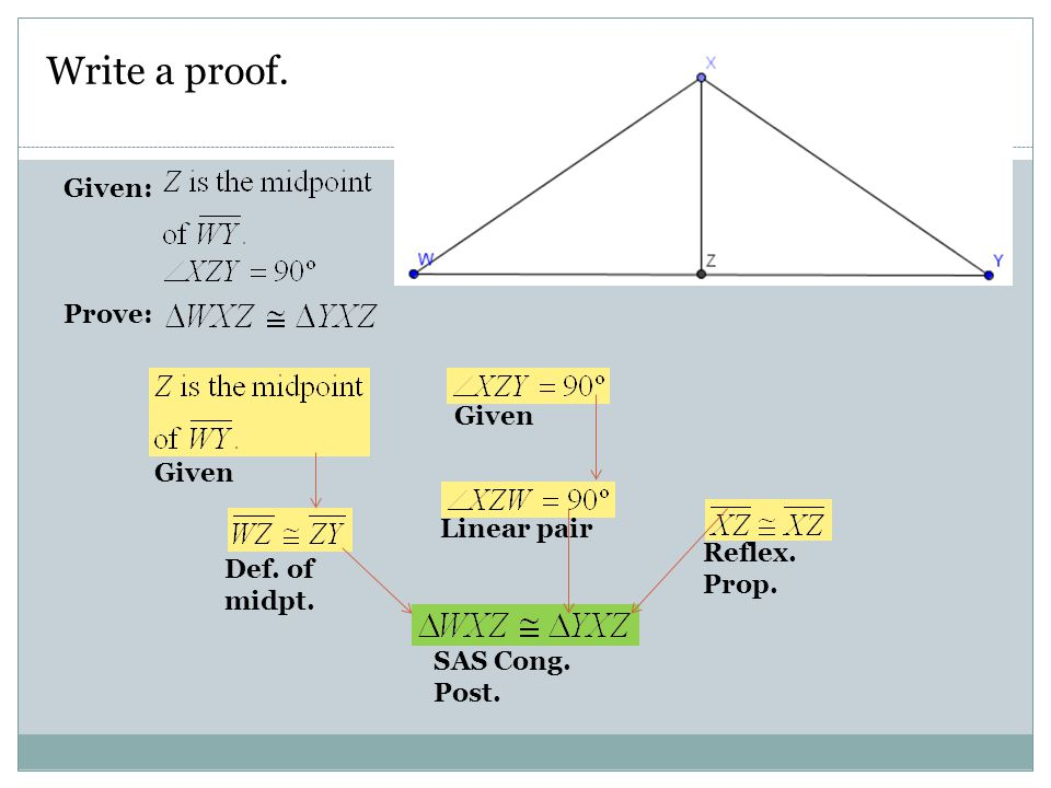 Write a proof. Given: Prove: Given Given Linear pair Reflex. Prop.