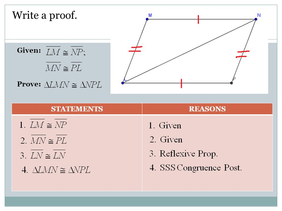 Write a proof. Given: Prove: STATEMENTS REASONS