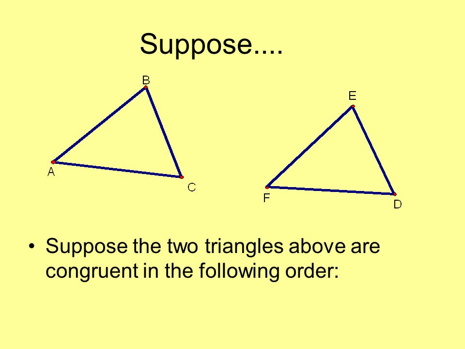 Suppose.... Suppose the two triangles above are congruent in the following order: