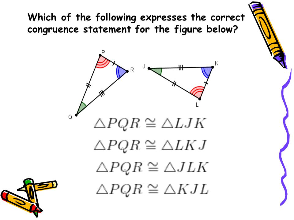 Determining congruent triangles