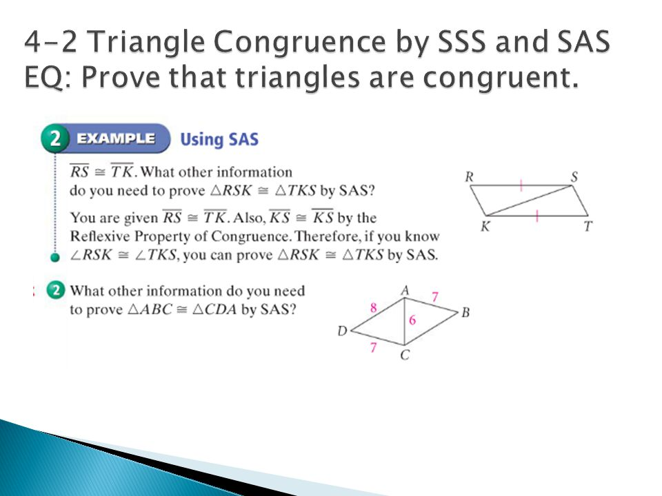 Practice 4 2 Triangle Congruence By Sss And Sas 9th 11th Grade ...