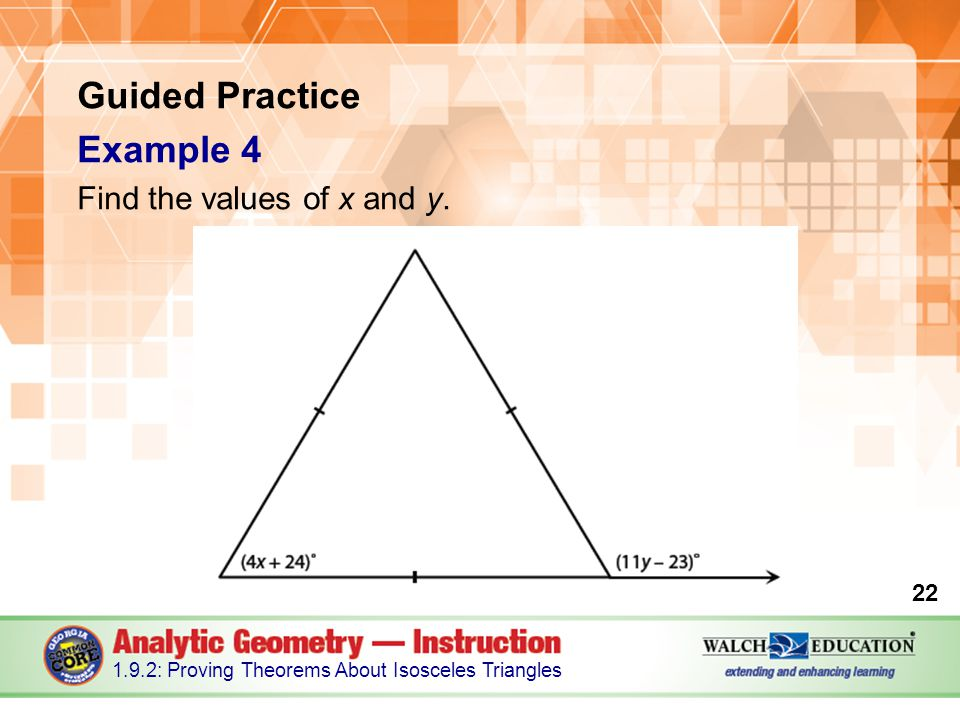 Guided Practice Example 4 Find the values of x and y.