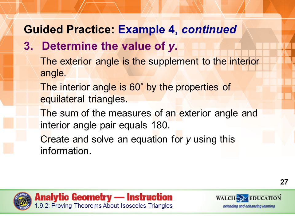 Guided Practice: Example 4, continued Determine the value of y.
