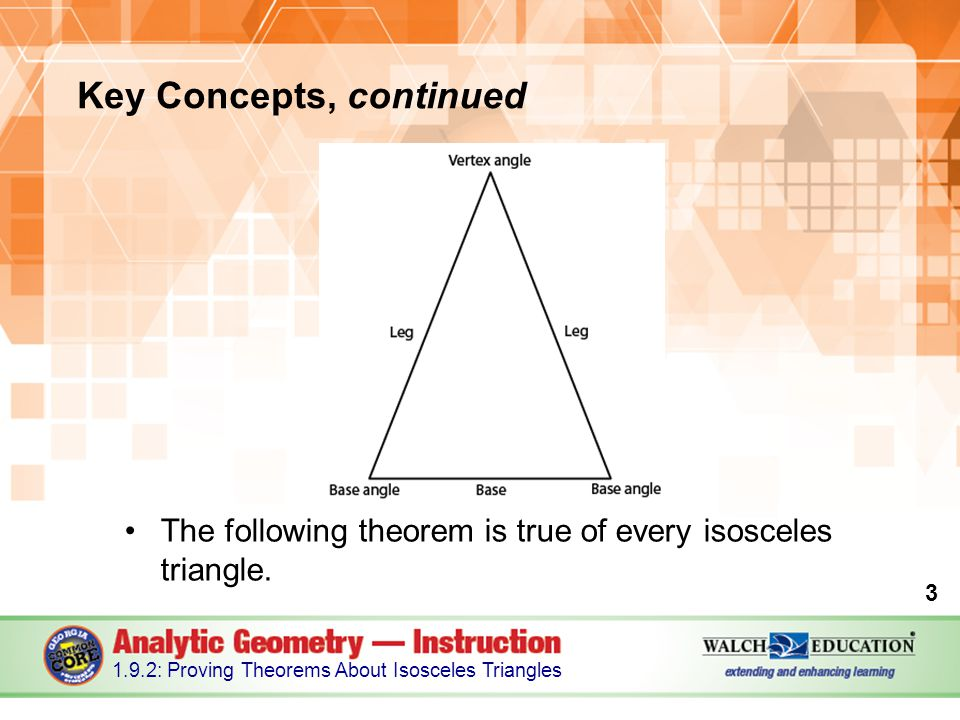 The following theorem is true of every isosceles triangle.