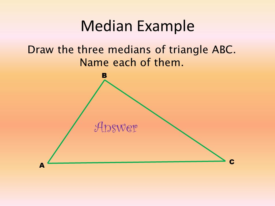 how to find the median of a triangle algebraically