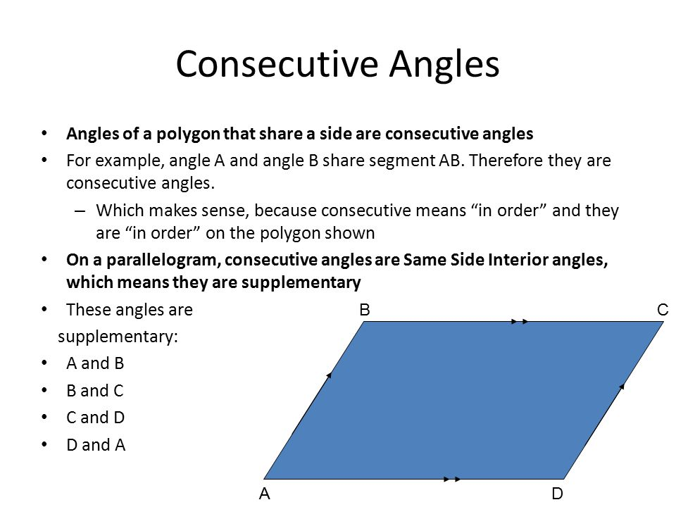 Consecutive Angles Angles Of A Polygon That Share A Side Are Consecutive  Angles.