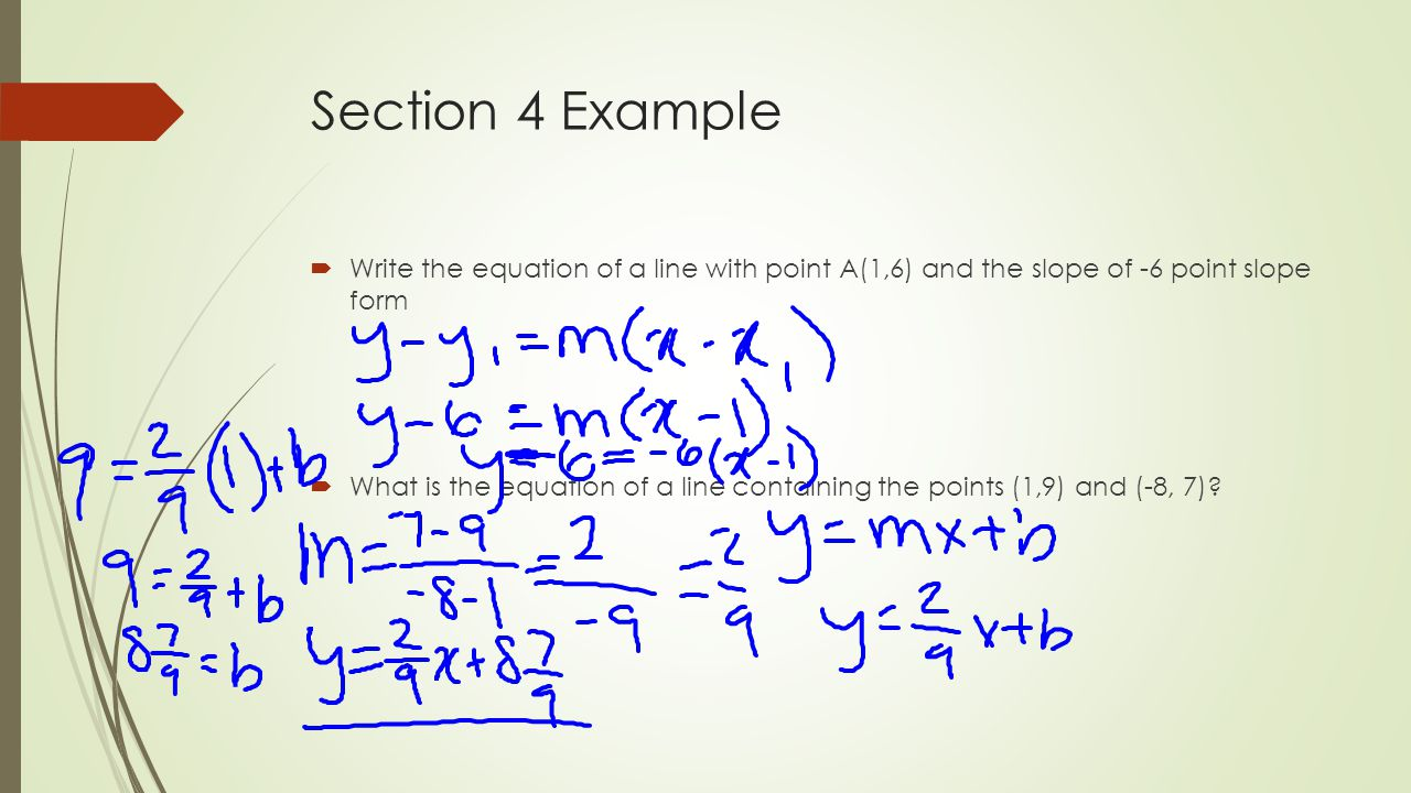 Chapter 3 midterm review ppt video online download section 4 example write the equation of a line with point a16 falaconquin