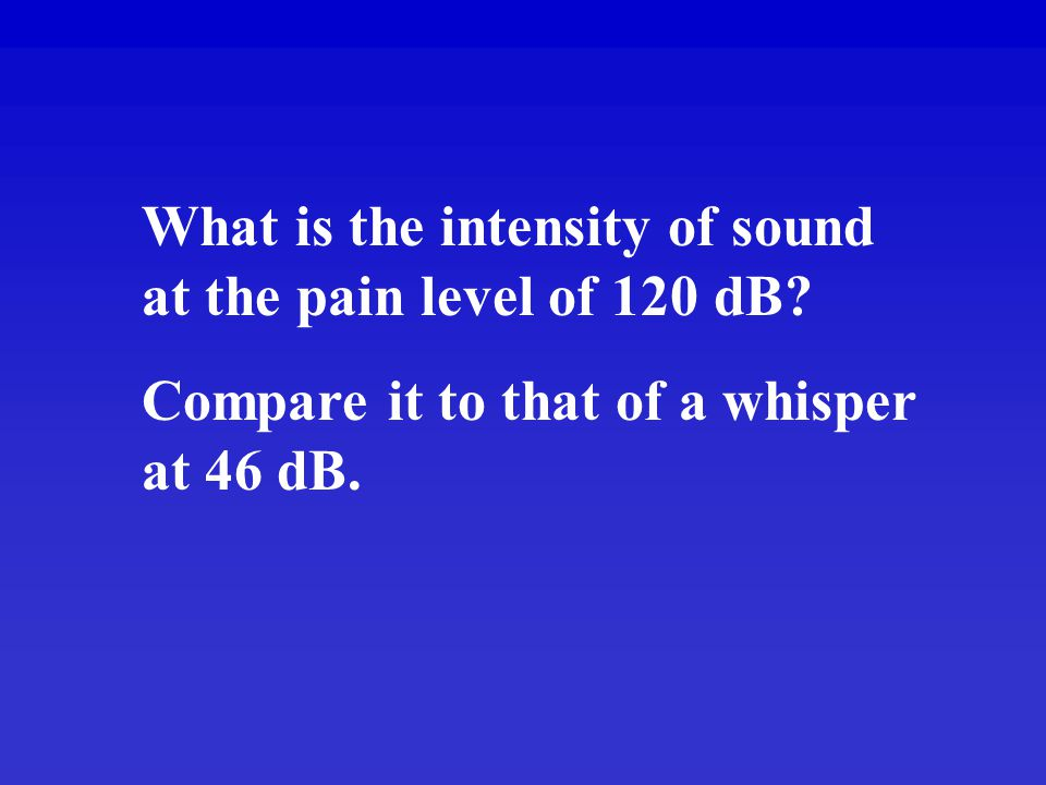 What is the intensity of sound at the pain level of 120 dB