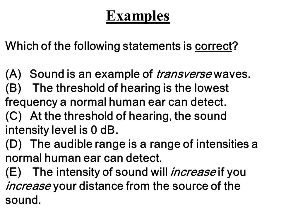 Examples Which of the following statements is correct