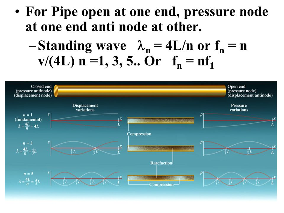 For Pipe open at one end, pressure node at one end anti node at other.