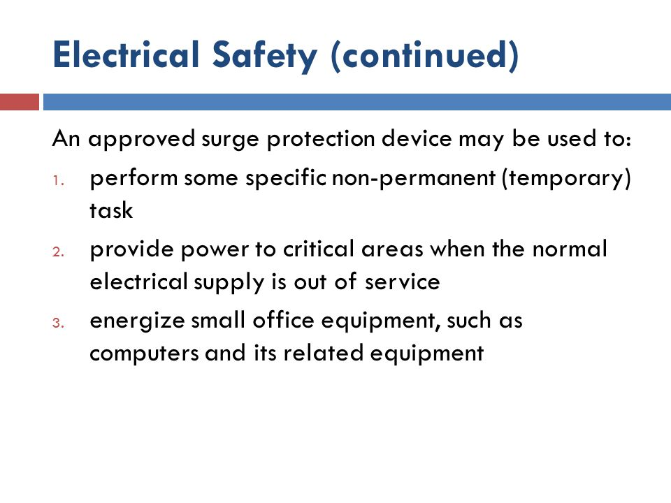 Electrical Safety (continued)