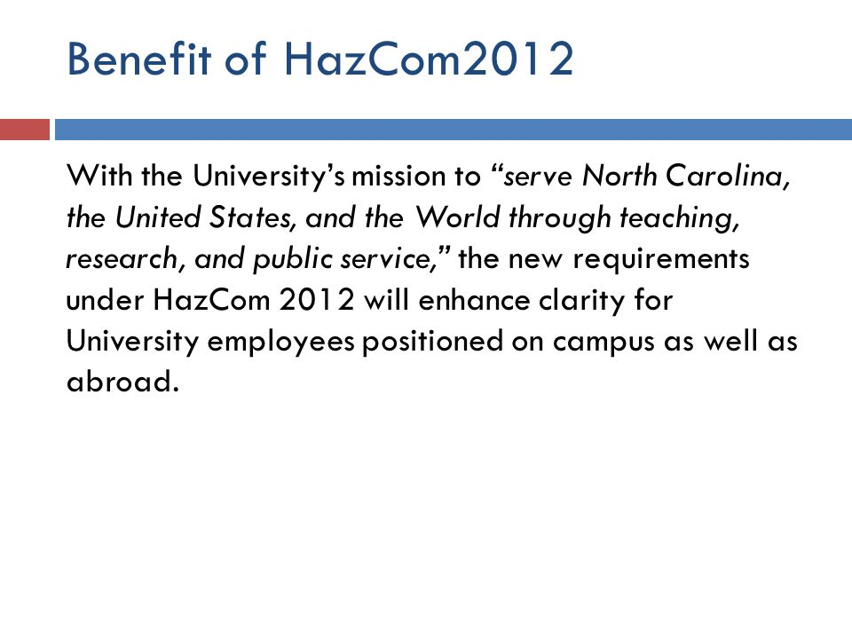 Benefit of HazCom2012